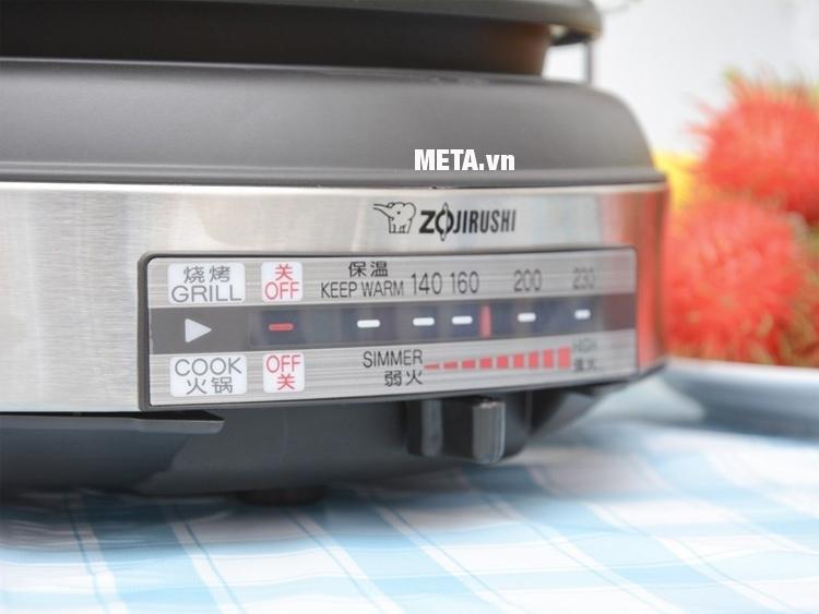 Lẩu điện Zojirushi ZONL-EP-LAQ15-XJ với nút gạt dễ dàng điều chỉnh nhiệt độ.