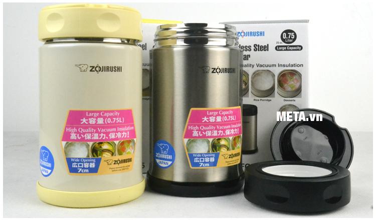 Hộp đựng thực phẩm giữ nhiệt Zojirushi SW-FCE75 với vỏ ngoài bằng inox cách nhiệt.