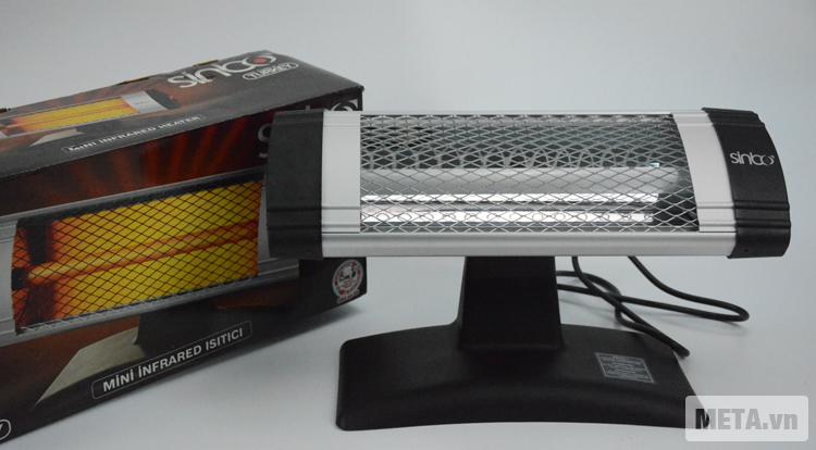 Đèn sưởi mini Sinbo SFH-3309 với vỏ hộp chắc chắn.