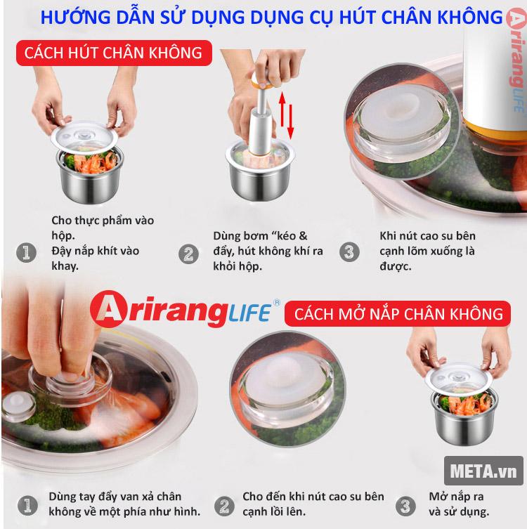 Hướng dẫn sử dụng cách hút chân không của hộp cơm hâm nóng Ariranglife EL - ALS263.