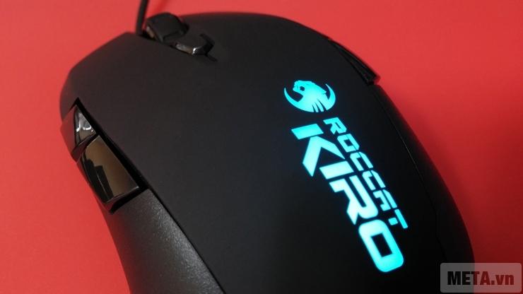 Thiết kế logo nhiều màu của chuột máy tính Roccat Kiro.