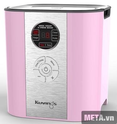 Máy làm phô mai và sữa chua Kuvings - 621CB với thiết kế màu hồng pha trắng.
