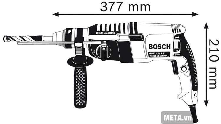 Cấu tạo của máy khoan búa Bosch GBH 2-26 RE.
