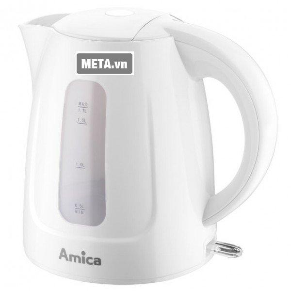 Bình siêu tốc Amica KD 1011 với lớp ngoài là nhựa cách nhiệt chống bỏng.
