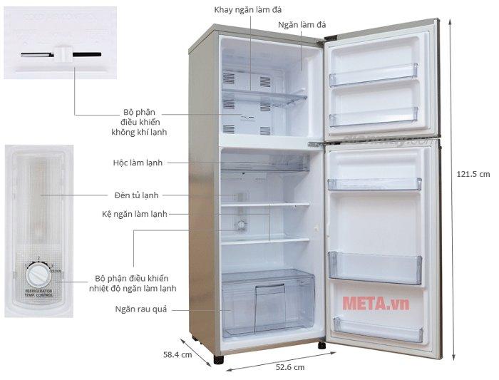 Thông số kĩ thuật của tủ lạnh 188 lít Panasonic NR-BM229GSVN.