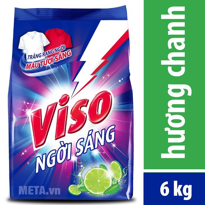 Bột giặt VISO trắng sáng hương chanh 6 kg giúp quần áo thơm lâu