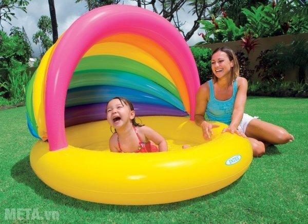 Hình ảnh bể bơi INTEX mái che cầu vồng 57420