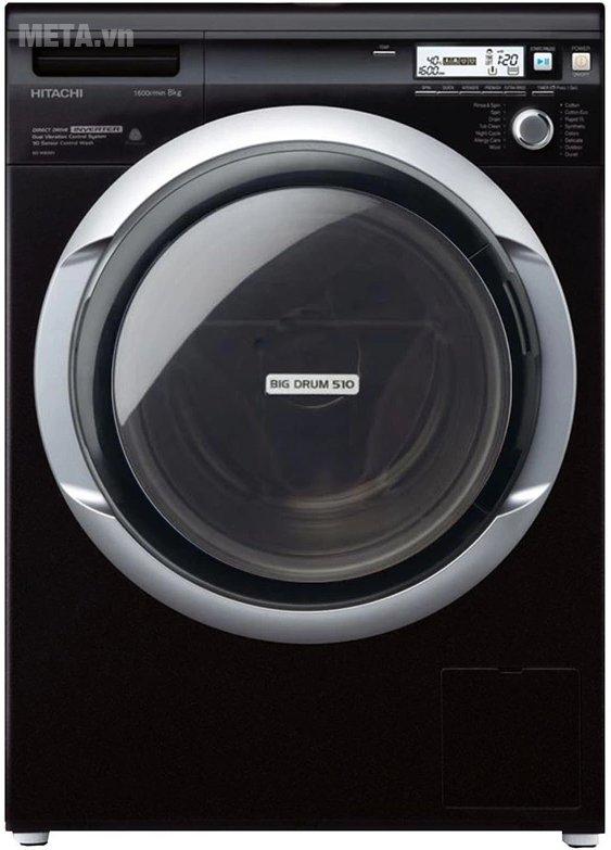 Máy giặt cửa trước 8kg Hitachi BD-W80MV có kiểu dáng hiện đại với màu đen lôi cuốn.