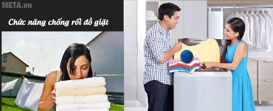 Máy giặt Hitachi SF - 110S 11kg có chức năng chống rối đồ giặt, giúp việc lấy quần áo dễ hơn
