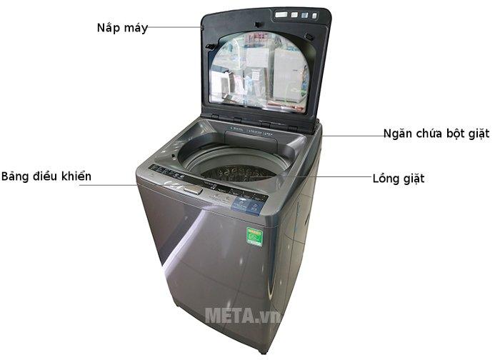 Máy giặt cửa trên 15kg Hitachi SF- 150XTV có nắp lồng giặt lớn