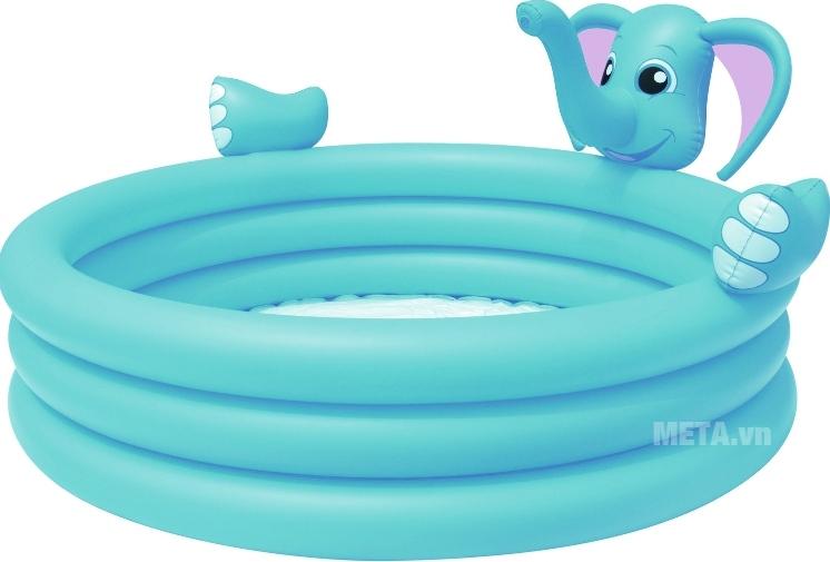Bể phao 3 tầng hình voi (có vòi phun nước) Bestway 53048 với màu xanh dễ thương.
