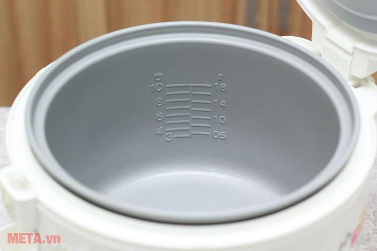Lòng nồi cơm điện Sharp nắp gài KS-N182ETV phủ lớp chống dính cao cấp.