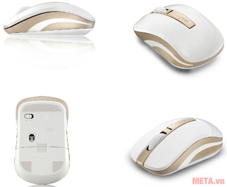 Chuột không dây Rapoo 6610 NEW thiết kế nhỏ gọn giúp cầm nắm dễ dàng.