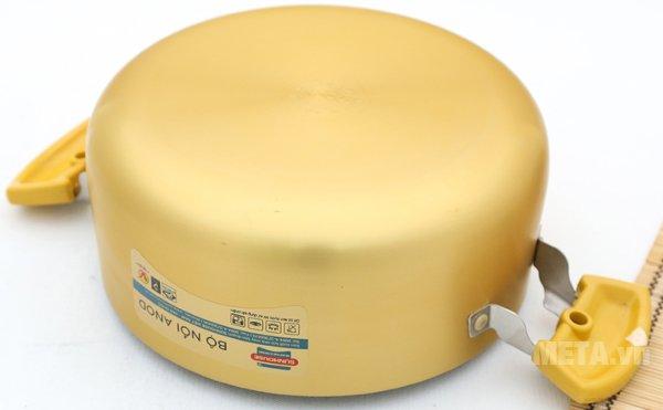 Bộ nồi Anod 3 chiếc màu vàng SH8834 thiết kế đáy nồi cao cấp
