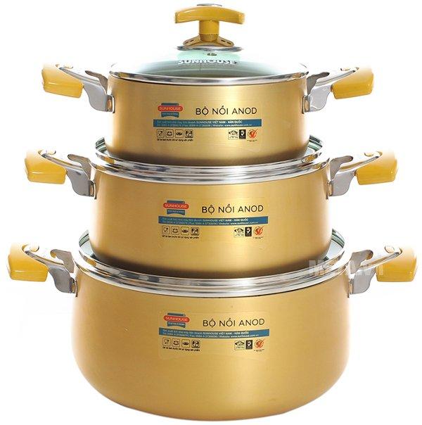 Bộ nồi Anod 3 chiếc màu vàng SH8834 thiết kế cao cấp, màu vàng sang trọng