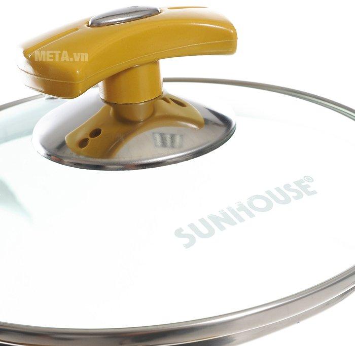 Bộ nồi Anod 3 chiếc màu vàng SH8834 thiết kế vung kính trong, dễ quan sát thức ăn khi nấu