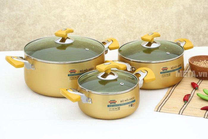 Hình ảnh của bộ nồi Anod 3 chiếc màu vàng SH8834