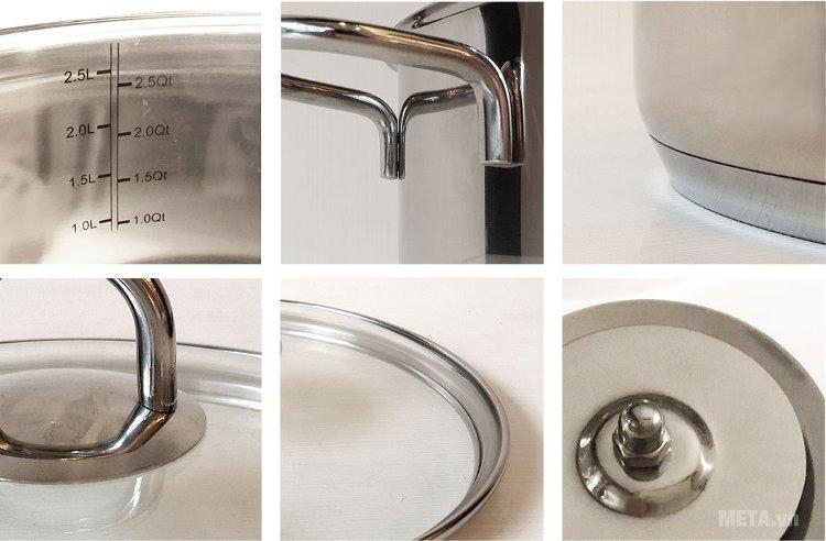 Bộ nồi từ Silit Diamant 7 có vung kính trong suốt, dễ dàng chùi rửa vệ sinh