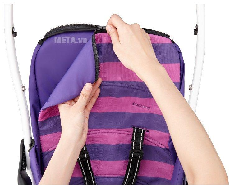 Xe đẩy trẻ em Aprica Magical Air Prism Violet PP có ghế ngồi bọc đệm êm ái