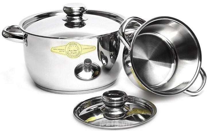 Bộ cool 3 cái - 3 đáy nắp inox Fivestar FS06C-1 đa dạng về kích cỡ, cho bạn chế biến nhiều món ăn