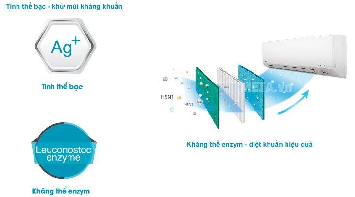 Điều hòa 2 chiều Inverter 12000 BTU Toshiba H13S3KV-V có khả năng diệt vi khuẩn