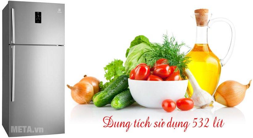 Tủ lạnh Inverter 570 lít Electrolux ETE5720AA có dung tích thực 532 lít