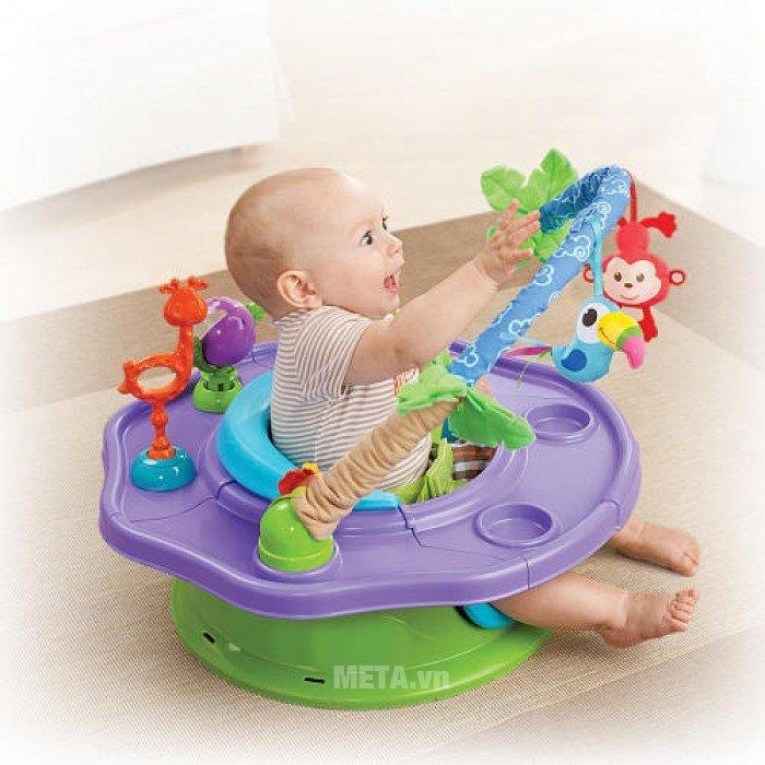 Ghế tập ngồi 3 giai đoạn có thanh đồ chơi (Xanh) SM13290 tạo cho bé cảm giác thích thú