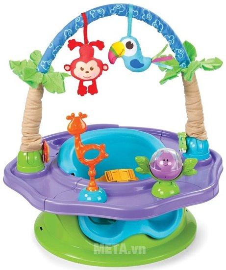 Ghế tập ngồi 3 giai đoạn có thanh đồ chơi (Xanh) SM13290 cho bé