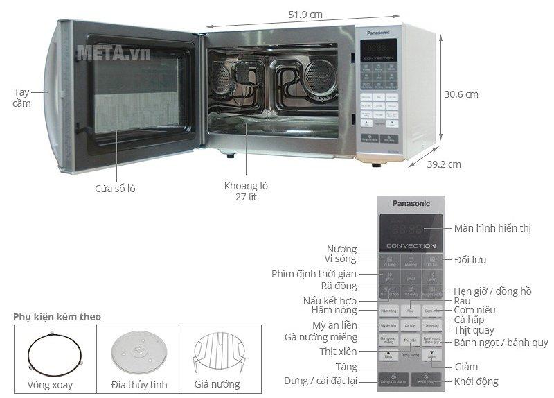 Lò vi sóng điện tử Panasonic NN-CT655MYUE - 27 lít có nhiều chức năng