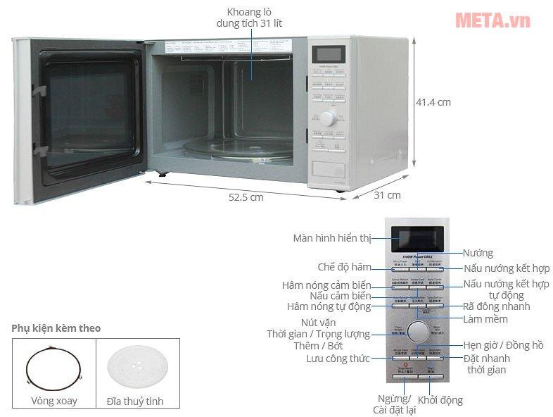 Lò vi sóng điện tử Panasonic NN-GD692SYUE - 31 lít có nhiều chế độ nấu nướng