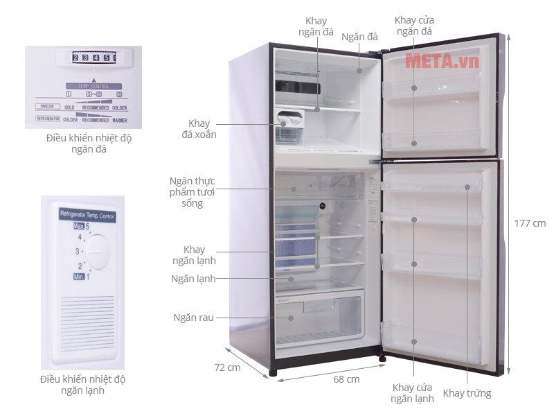Cấu tạo tủ lạnh 2 cánh 395 lít HitachiI R-VG470PGV3