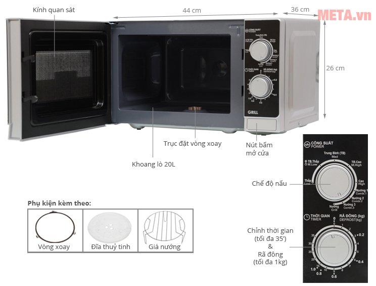 Cấu tạo lò vi sóng cơ có nướng Sharp R-G222VN-S 20 lít