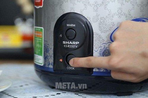 Nồi cơm điện Sharp KS-R23STV - 2.2 lít có nút bấm tiện lợi