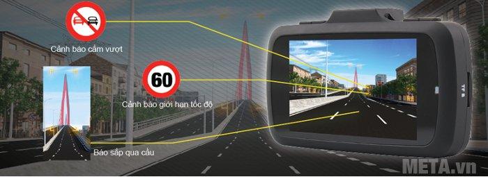 Camera hành trình VietMap K9 Pro có tính năng cảnh báo làn đường