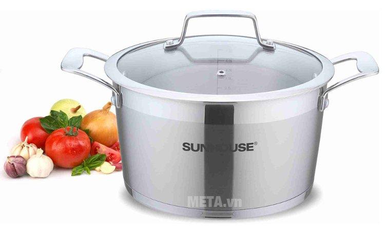 Bộ 3 nồi inox 5 đáy Sunhouse SH779 thích hợp sử dụng mọi loại bếp