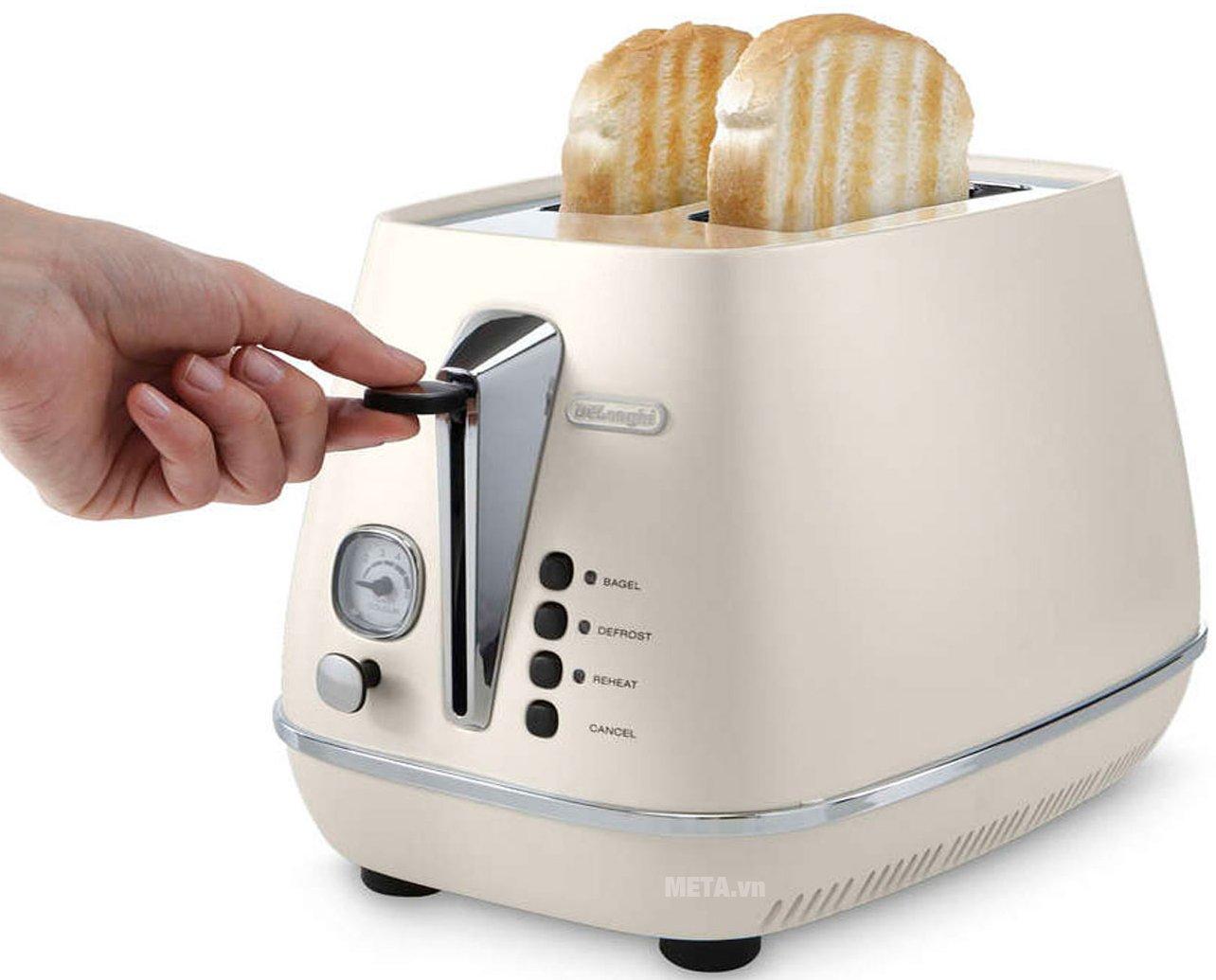 Máy nướng bánh mì Distina CTI 2103.W giúp nướng bánh nhanh chóng