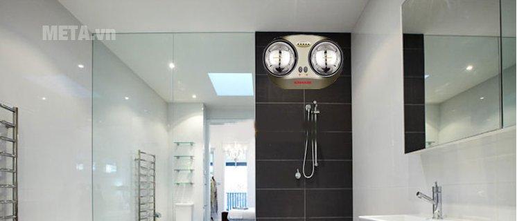 Đèn sưởi nhà tắm Sunhouse SHD3822 gồm 2 bóng đèn, công suất làm ấm phòng tắm nhanh chóng