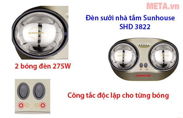 Đèn sưởi nhà tắm Sunhouse SHD3822 có công tắc độc lập cho từng bóng