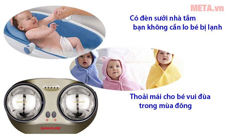 Đèn sưởi nhà tắm Sunhouse SHD3822 giúp bé thoải mái khi tắm trong mùa đông