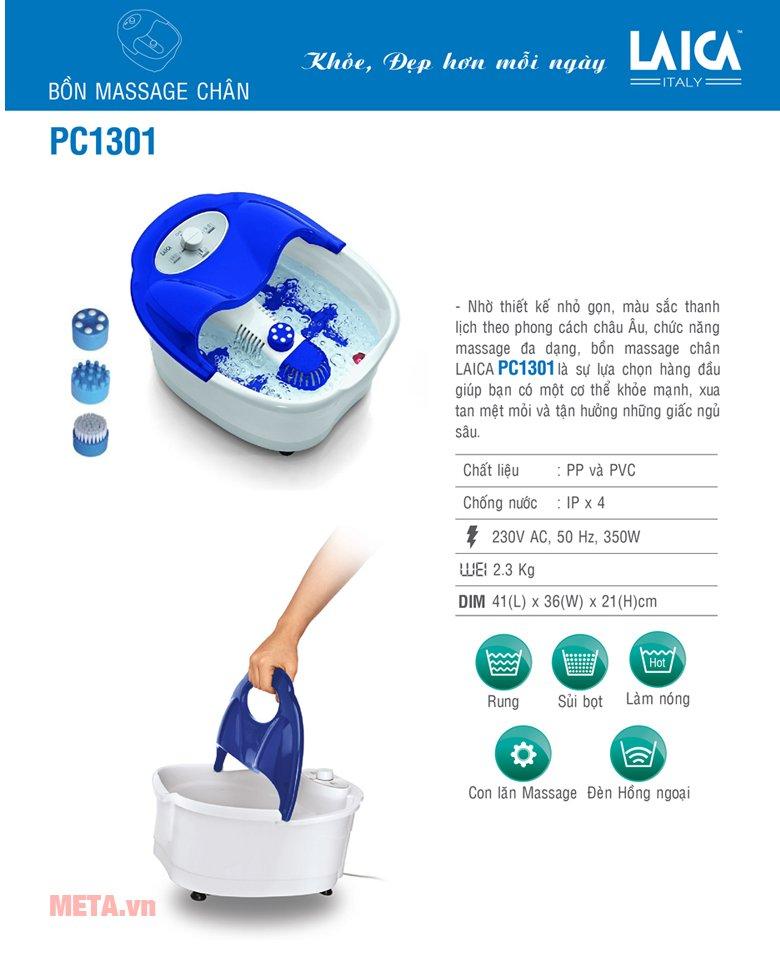Bồn massage chân hồng ngoại Laica PC1301 có thiết kế tiện lợi
