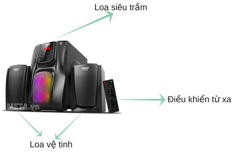 Loa vi tính Tako W900 (2.1) gồm 1 loa siêu trầm và 2 loa vệ tinh