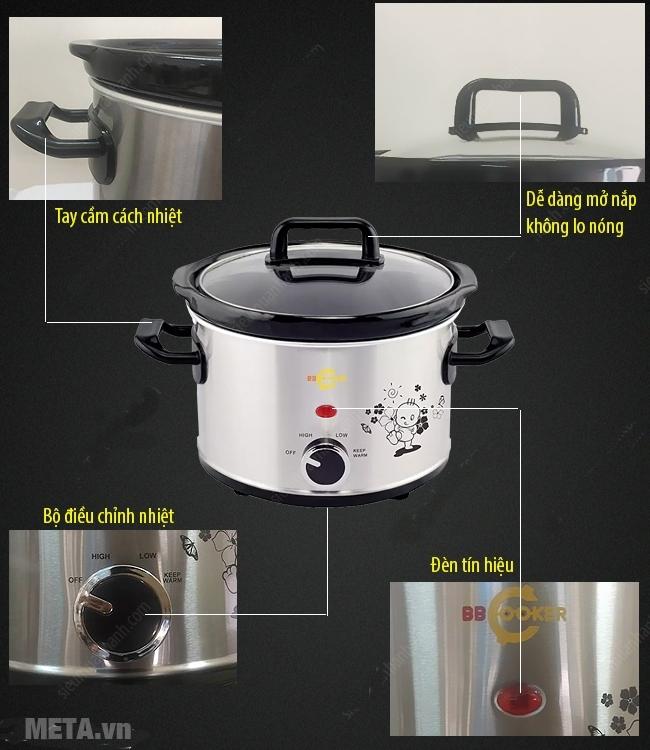 Nồi nấu cháo đa năng Hàn Quốc BBCooker (2,5 lít) thích hợp 4 - 6 người