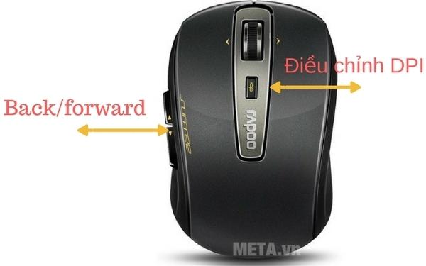 Chuột không dây Rapoo 3920P tích hợp điều chỉnh độ nhạy chuột từ 500 - 1600Dpi