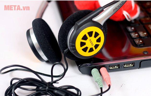 Tai nghe Microlab K250 có thiết kế tiện lợi