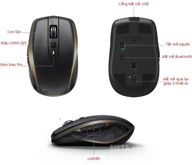 Các chức năng được thiết kế tinh tế trên thân chuột