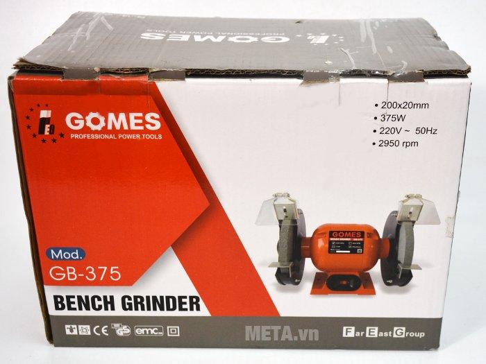 Máy mài 2 đá Gomes GB-375 được đóng gói chắc chắn