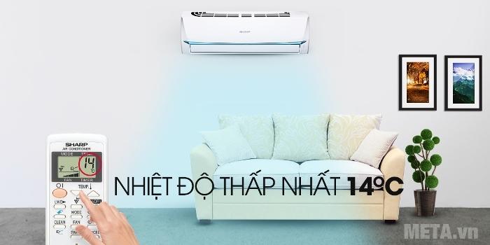 Điều hòa Sharp AH-A12UEW có thể đạt nhiệt độ ở mức thấp nhất 14 độ C