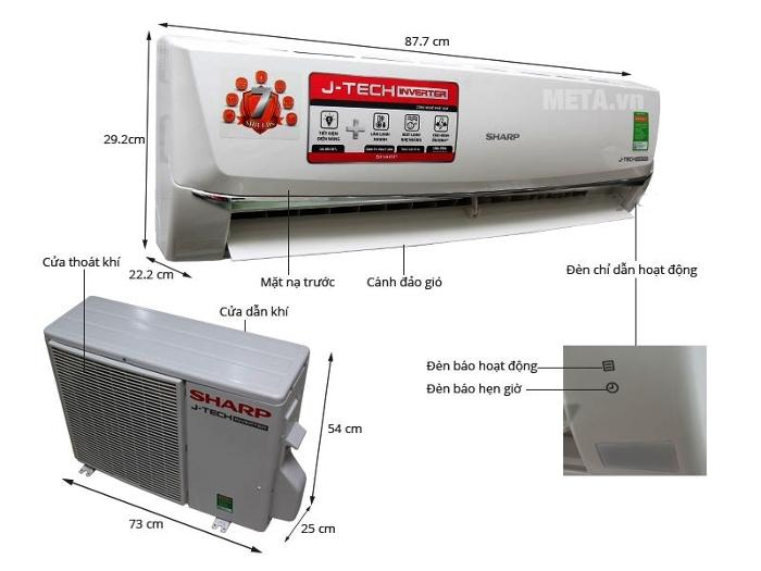 Chi tiết về điều hòa Sharp Inverter 1.5 HP AH-X12UEW