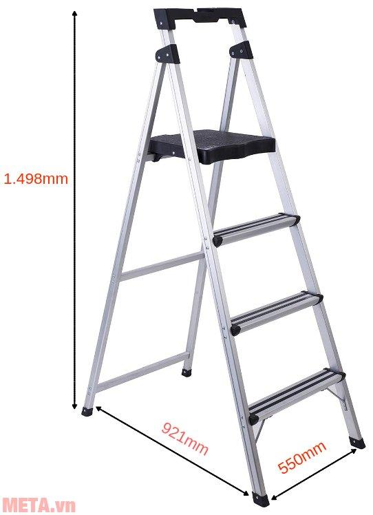 Kích thước khi sử dụng thang ghế 4 bậc Sumo ADS-604
