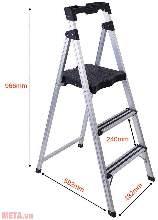 Kích thước khi mở thang ghế 3 bậc Sumo ADS-603